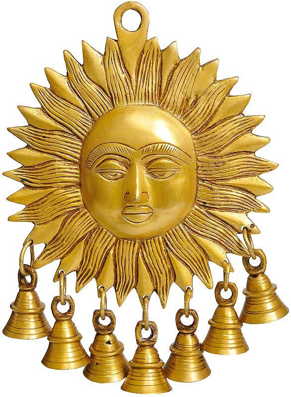Surya Wall-Hanging: Auspicious Motif of Sun with Bells