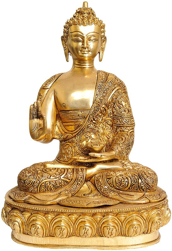 Tibetan Buddhist Deity Blessing Buddha with Beautifully Carved Robe