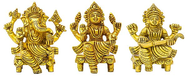 Ganesha Lakshmi and Saraswati (Set of Three Statues)