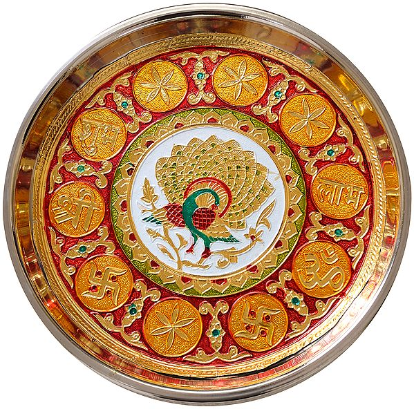 Peacock Puja Thali with Auspicious Symbols Shubh Labh