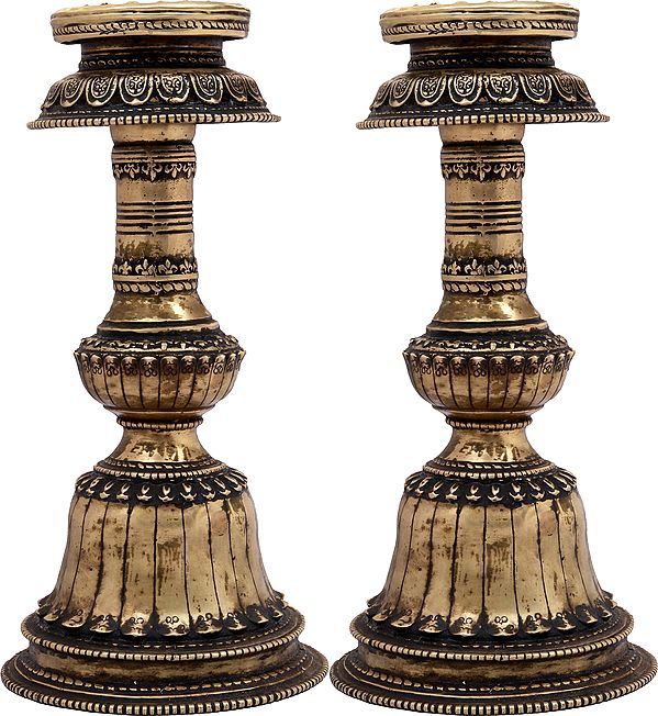 Pair of Tibetan Buddhist Butter Lamps - Made in Nepal