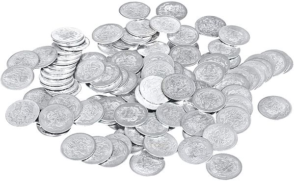 Set of 108 Coins of Goddess Lakshmi with Lakshmi Kubera on Reverse (Two Sided Coin)