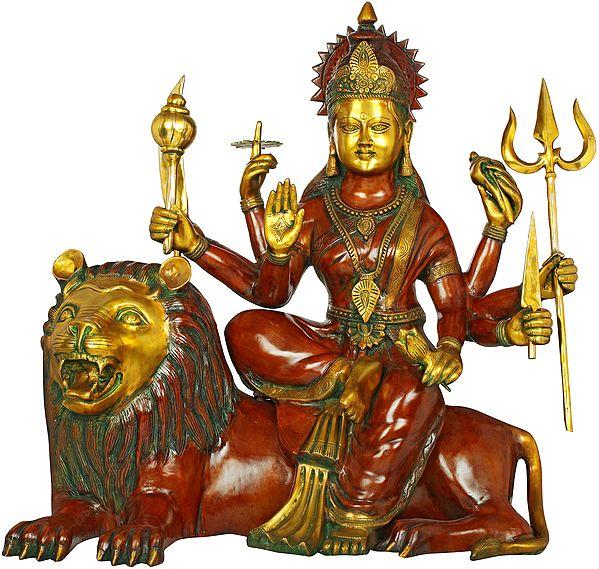 Large Size Goddess Durga Seated On Lion