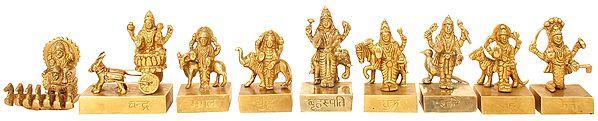 Navagraha - Nine Planetary Gods (From the left Surya, Chandra, Mangal, Budha, Brihaspati, Shukra, Shani, Rahu and Ketu)