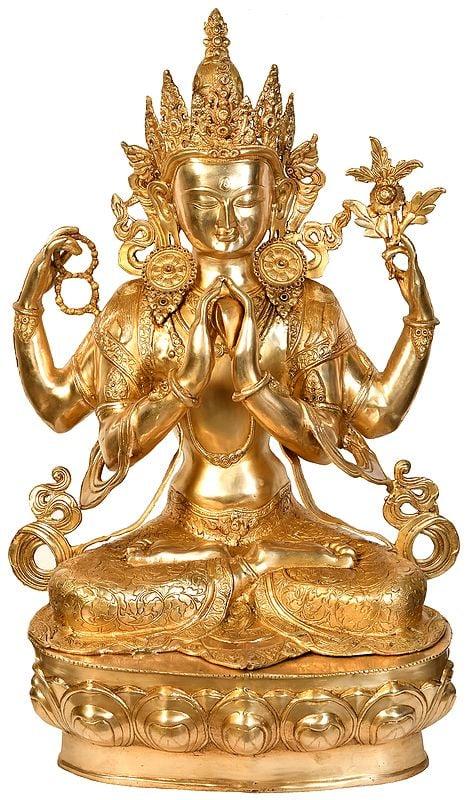 Tibetan Buddhist Bodhisattva Deity Chenrezig (Large Size Shadakshari Lokeshvara)