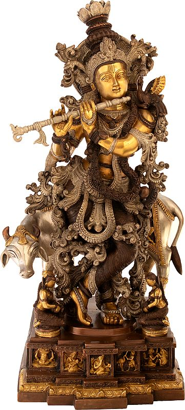 Large Size Murli Krishna with a Cow on a Carved Pedestal