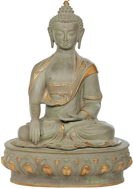 Tibetan Buddhist Lord Buddha in Bhumisparsha Mudra (Earth Touching Gesture)
