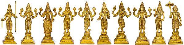 The Ten Incarnations of Lord Vishnu - Dashavtara (Set of Ten Sculptures)