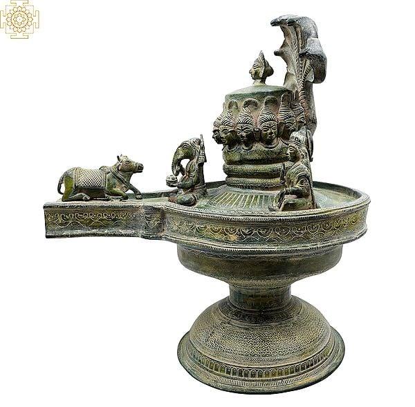 Shiva Linga with Shiva Family and Shiva Heads on Linga