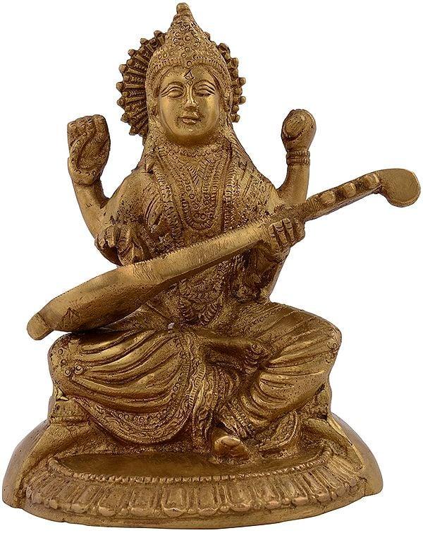 Goddess Saraswati Playing her Veena
