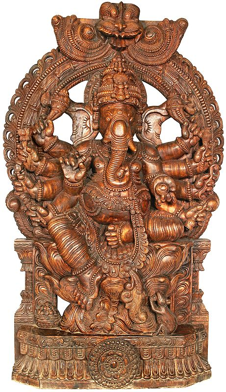 Large Eight Armed Ganesha With Large Kirtimukha Atop