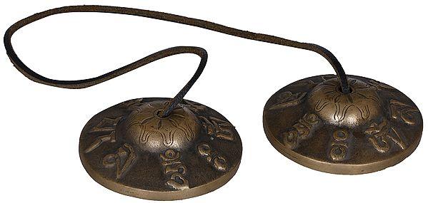 Tibetan Buddhist Om Mani Padme Hum Cymbals (Tingsha or Ting-Sha)