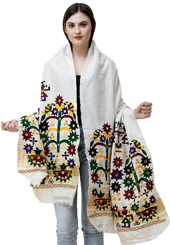 Shawl from Kutchh with Hand-Embroidery and Mirrors
