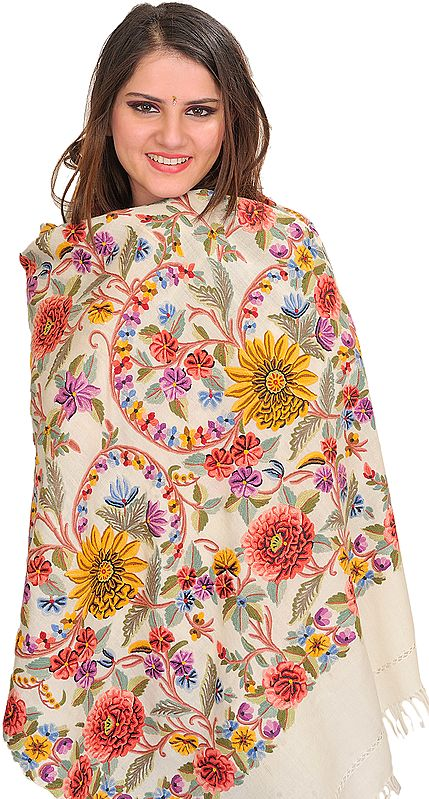 Ivory Kashmiri Stole with Ari Floral Hand-Embroidery All-Over