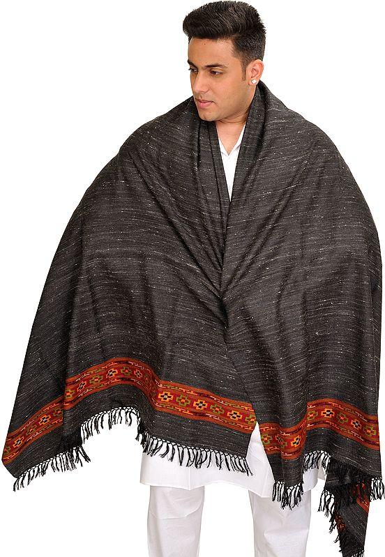 Black Kullu Shawl for Men with Kinnauri Woven Border