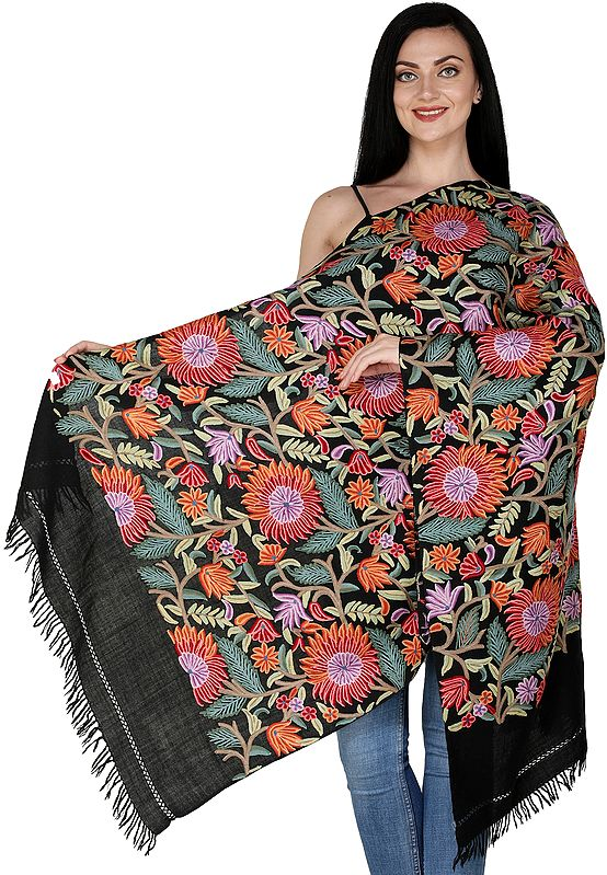 Stole from Kashmir with Ari Hand-Embroidered Sunflowers