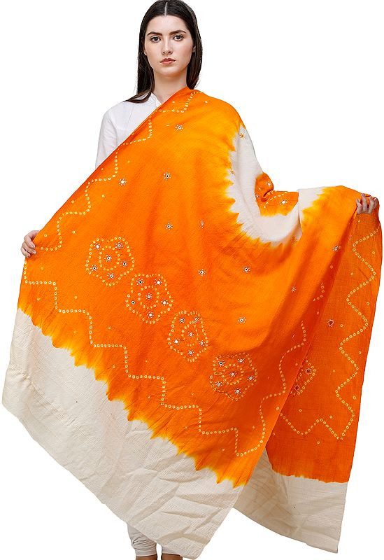 Bandhani Tie-Dye Shawl From Gujarat with Embroidered Mirrors