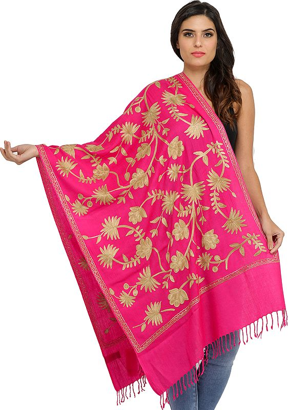 Ari Stole from Amritsar with Floral Embroidery