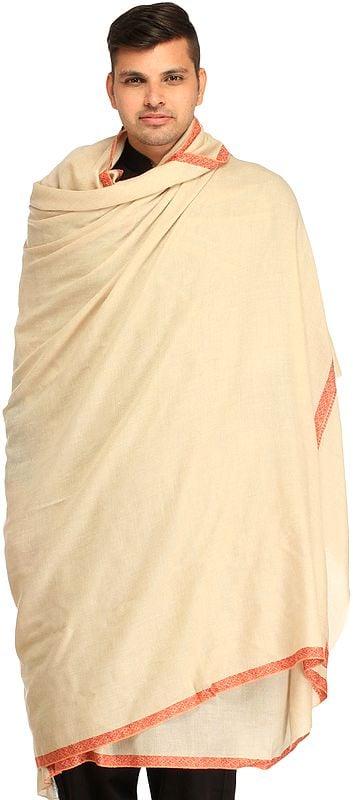 Off-White Plain Pure Pashmina Dushala (Lohi) for Men with Sozni Embroidery on Border