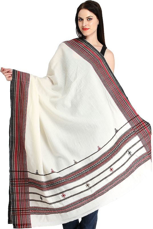 Ivory Shawl from Kutch with Thread Weave on Border