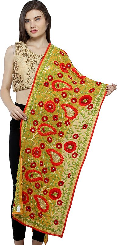 Phulkari Scarf from Punjab with Floral Hand-Embroidery and Sequins