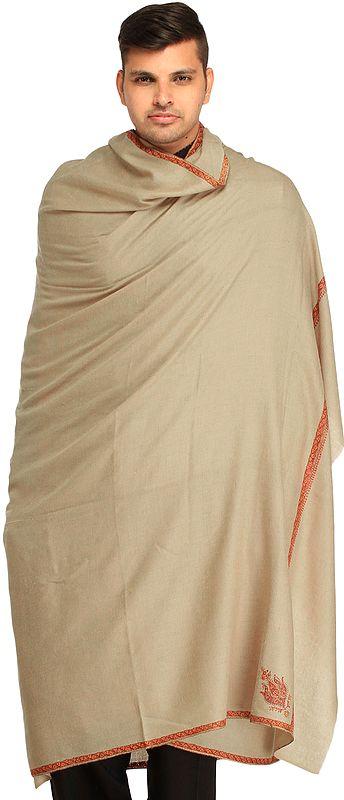 Cement-Gray Plain Pure Pashmina Dushala (Lohi) for Men with Sozni Embroidery on Border