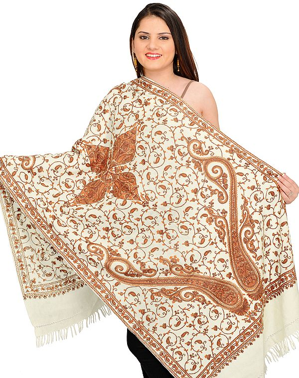 Stole from Kashmir with Ari Hand-Embroidered Paisleys All-Over