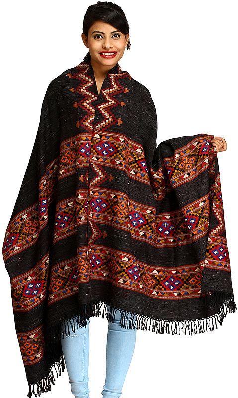 Black Shawl from Kullu with Kinnauri Woven Triple Border and Zigzag Weave