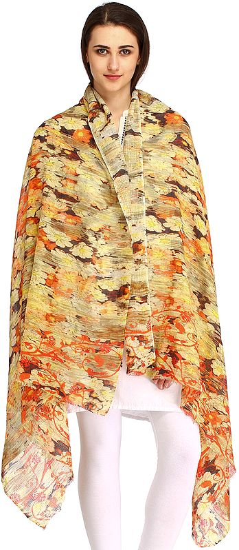 Dusty-Citron Digital Printed Stole from Amritsar