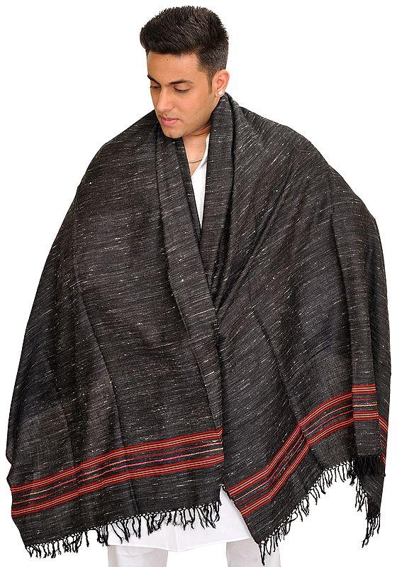 Phantom Black Men's Shawl from Kullu with Woven Stripes on Border