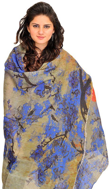 Multicolor Digital-Printed Shawl from Amritsar