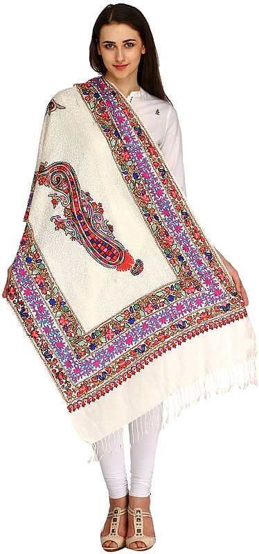 Star-White Stole from Amritsar with Multicolor Ari-Embroidered Paisley