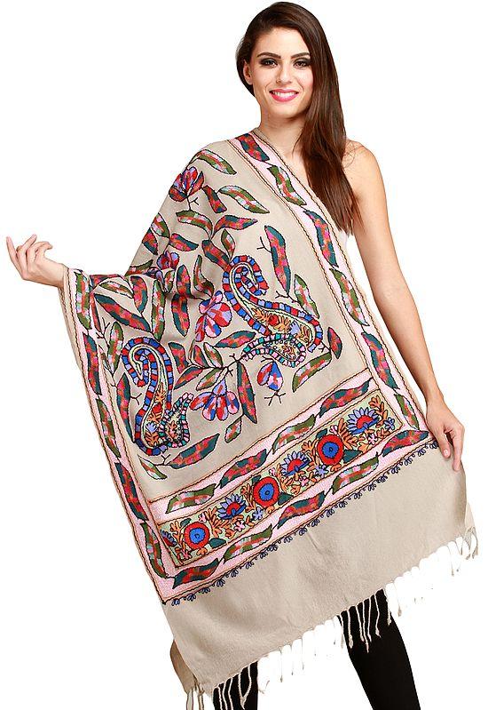 Pumice-Stone Amritsari Stole with Ari-Embroidery in Multicolor Thread