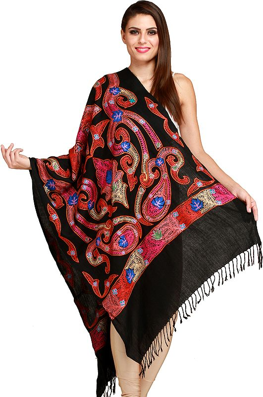 Phantom-Black Stole from Amritsar with Ari-Embroidery in Multicolor Thread