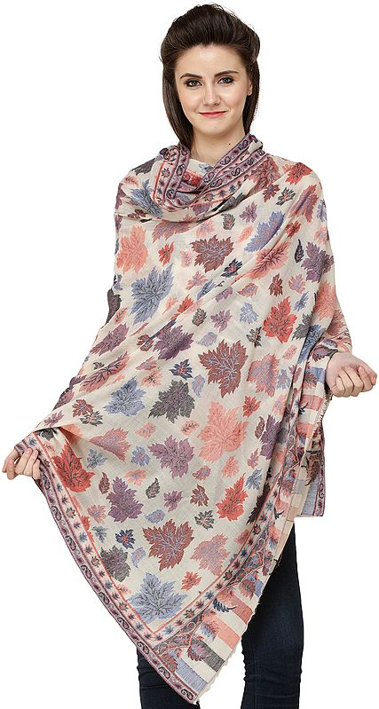 Kani Jamawar Shawl with All-Over Woven Maple Leaves