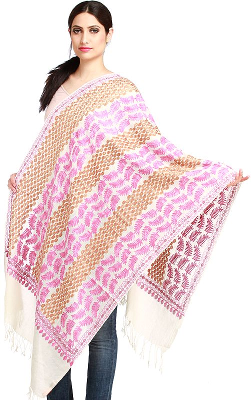 Ivory Ari-Embroidered Stole from Amritsar