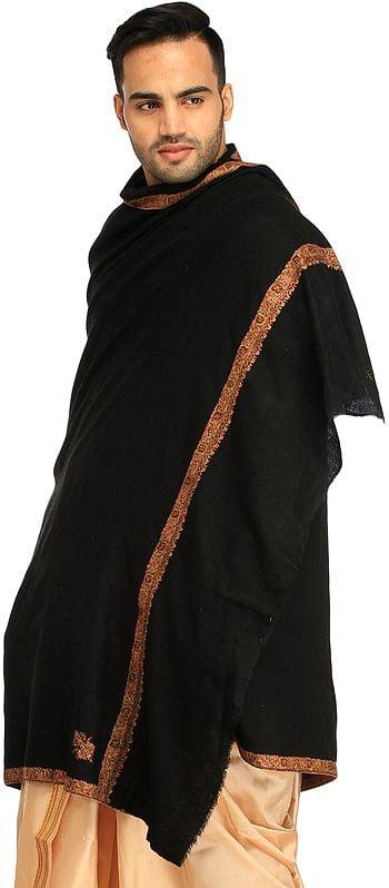 Jet-Black Plain Kashmiri Pashmina Shawl for Men with Sozni Hand-Embroidery on Border