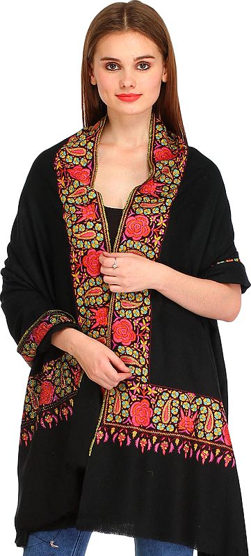 Jet-Black Kashmiri Pure Pashmina Shawl with Papier Mache Hand-Embroidery on Border
