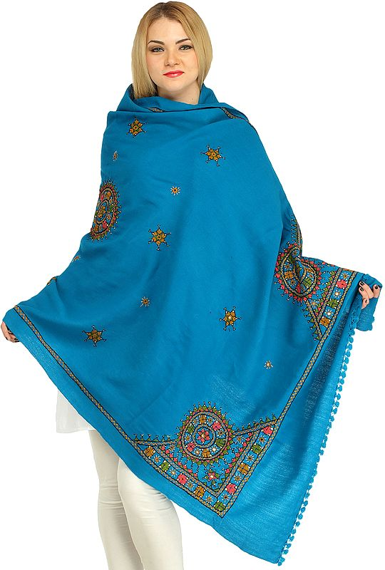 Shawl from Kutch with Hand-Embroidered Chakras and Mirrors