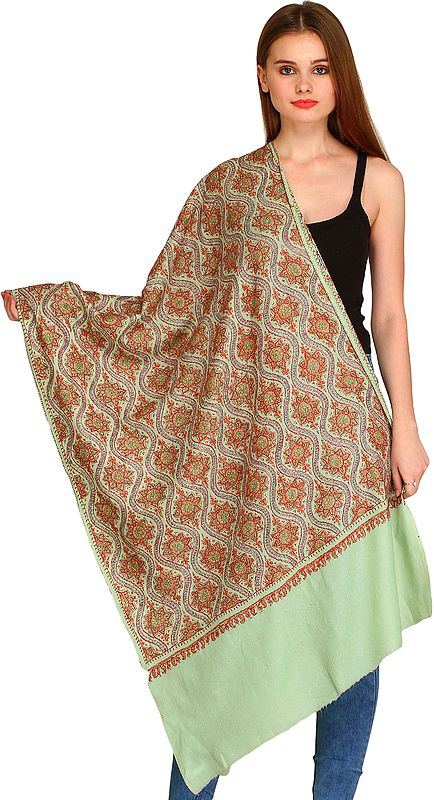 Pastel-Green Kashmiri Tusha Stole with Needle Hand-Embroidery All-Over