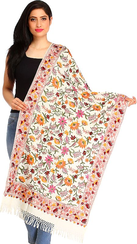 Stole from Amritsar with Ari-Embroidered Flowers