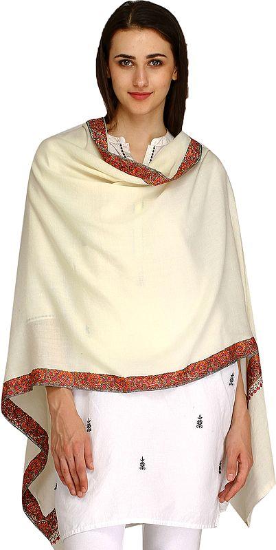 Plain Kashmiri Tusha Stole with Needle Hand-Embroidery on Border
