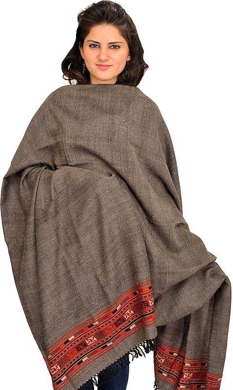 Charcoal-Gray Shawl from Kullu with Kinnauri Woven Border and Diamond Weave