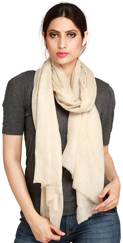 Whitecap-Gray Reversible Cashmere Stole with Self-Weave, as an Imitation of Shahtush