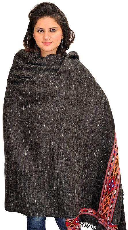 Black Shawl from Kullu with Thread Weave and Kinnauri Woven Border