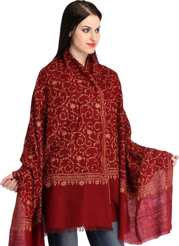Maroon Kashmiri Pure Pashmina Shawl with All-Over Sozni Hand-Embroidery