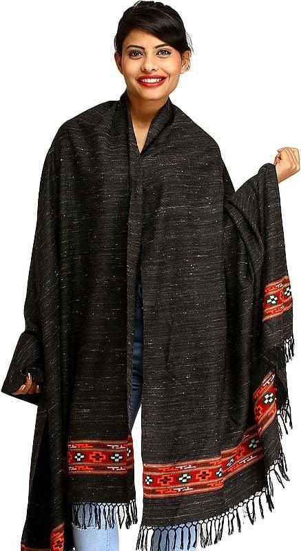 Black Shawl from Kullu with Kinnauri Woven Border