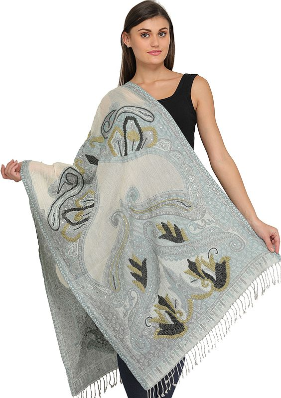 Cloud-Blue and Ivory Jamawar Stole with Woven Paisleys and Embroidered Sequins