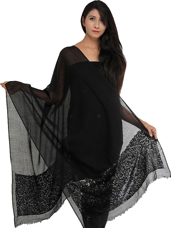 Plain Stole with Densely Embroidered Sequins on Border