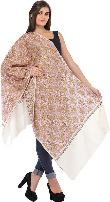 Ivory Kashmiri Tusha Stole with Needle Hand-Embroidery
